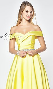 Image of beaded-waist off-the-shoulder long prom dress. Style: MF-E2781 Detail Image 1