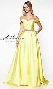 Image of beaded-waist off-the-shoulder long prom dress. Style: MF-E2781 Detail Image 3