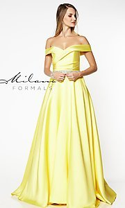Image of beaded-waist off-the-shoulder long prom dress. Style: MF-E2781 Detail Image 4