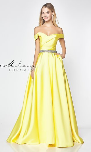 Beaded-Waist Off-the-Shoulder Long Prom Dress