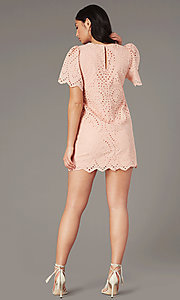 Image of short eyelet-lace party dress in blush pink. Style: VJ-LD42784 Back Image