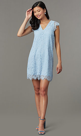 Short Lace Shift Graduation Party Dress