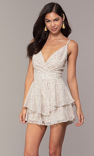 Natural Dot-Print Short Tiered Casual Party Romper