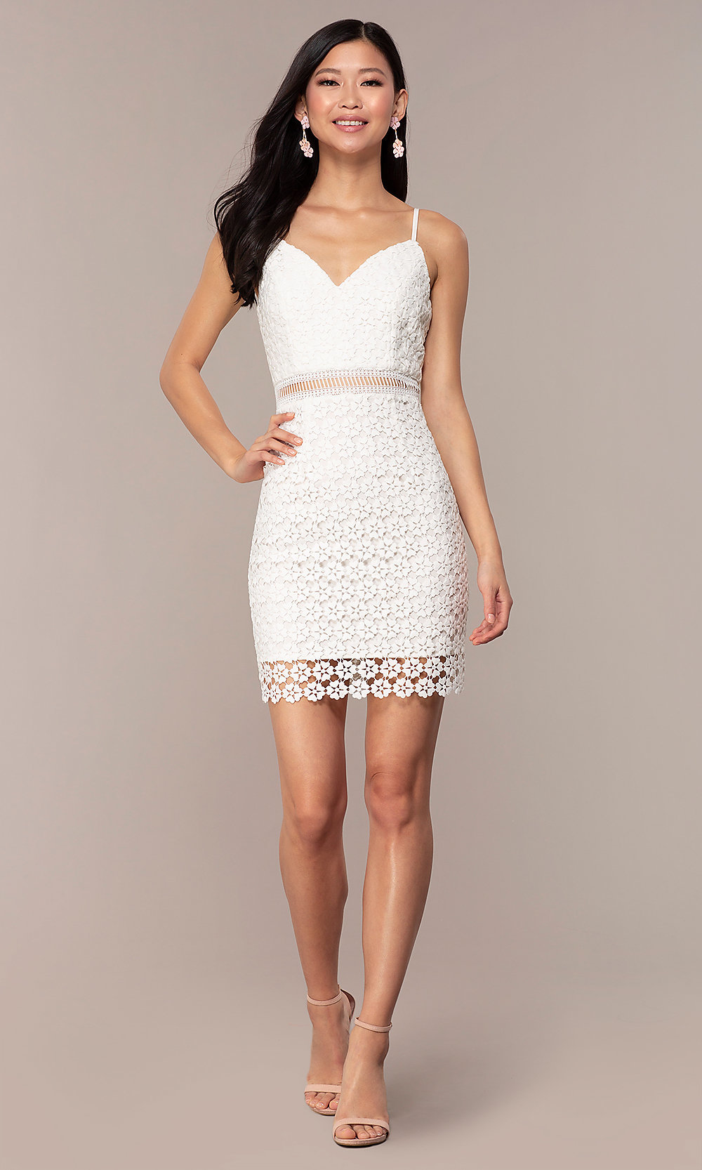 sheerwaist short white lace party dress  promgirl