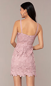 Image of short sleeveless lace graduation party dress. Style: MT-9717 Back Image