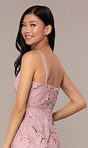 Image of short sleeveless lace graduation party dress. Style: MT-9717 Detail Image 2