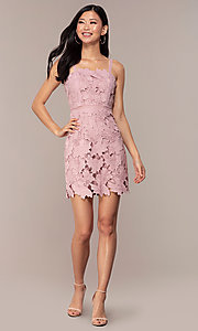 Image of short sleeveless lace graduation party dress. Style: MT-9717 Detail Image 3