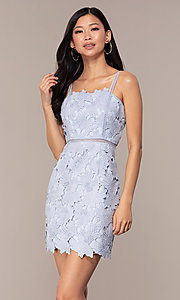 Image of short sleeveless lace graduation party dress. Style: MT-9717 Detail Image 4