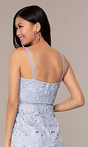 Image of short sleeveless lace graduation party dress. Style: MT-9717 Detail Image 7