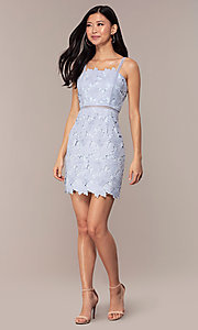 Image of short sleeveless lace graduation party dress. Style: MT-9717 Detail Image 8