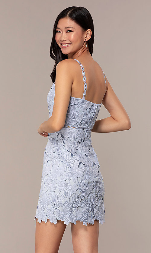 Image of short sleeveless lace graduation party dress. Style: MT-9717 Detail Image 5