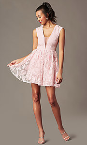 Image of short v-neck embroidered-mesh graduation dress. Style: MT-9924 Detail Image 1