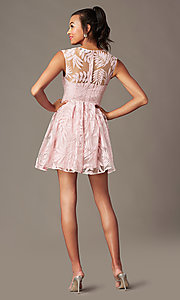 Image of short v-neck embroidered-mesh graduation dress. Style: MT-9924 Back Image