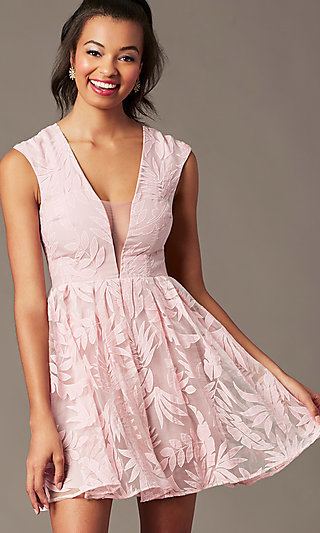 Short V-Neck Embroidered-Mesh Graduation Dress