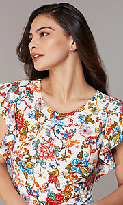 Image of short floral-embroidered party dress with sleeves. Style: ECI-719657-75116 Detail Image 3