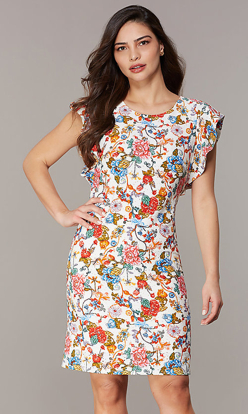 Image of short floral-embroidered party dress with sleeves. Style: ECI-719657-75116 Front Image