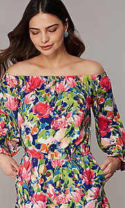 Image of off-the-shoulder floral-print romper with sleeves. Style: ECI-720569-75946A Detail Image 2