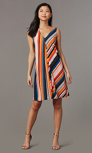 V-Neck Striped Casual Party Dress
