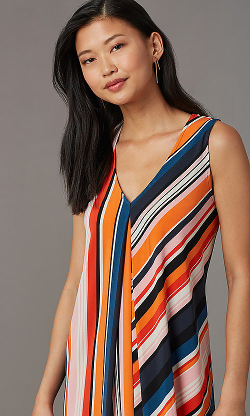 Image of v-neck short striped casual party dress. Style: ECI-719095-76019A Detail Image 1
