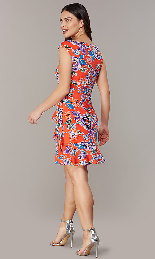 Image of short floral-print red party dress. Style: ECI-720463-75970A Detail Image 3