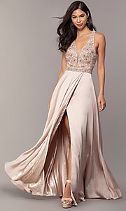 Image of embellished-bodice long faux-wrap prom dress. Style: DQ-2527 Detail Image 4