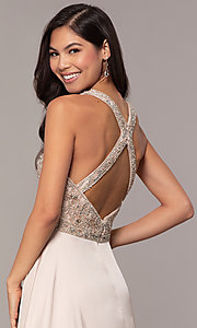 Image of embellished-bodice long faux-wrap prom dress. Style: DQ-2527 Detail Image 7