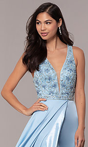 Image of embellished-bodice long faux-wrap prom dress. Style: DQ-2527 Detail Image 1