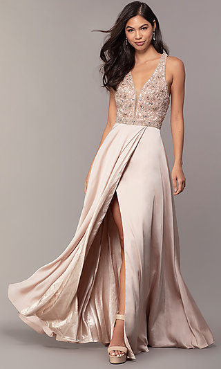 Embellished V-Neck Long Faux Wrap Prom Dress