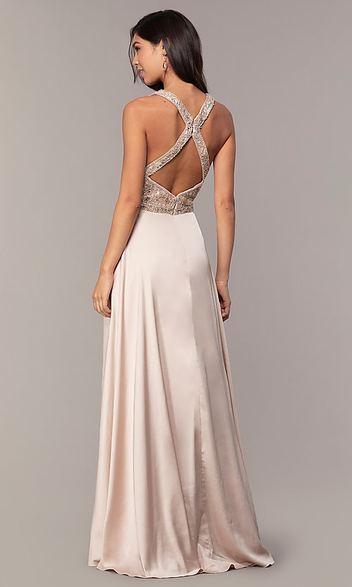 Image of embellished-bodice long faux-wrap prom dress. Style: DQ-2527 Detail Image 5