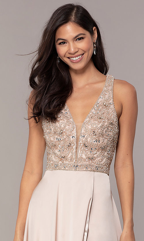 Image of embellished-bodice long faux-wrap prom dress. Style: DQ-2527 Detail Image 6