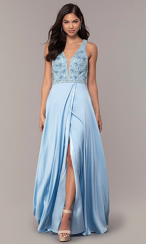 Image of embellished-bodice long faux-wrap prom dress. Style: DQ-2527 Front Image