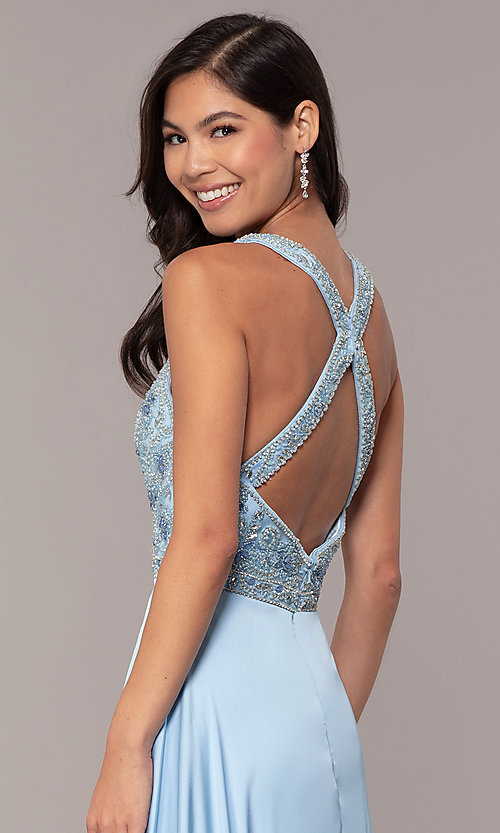 Image of embellished-bodice long faux-wrap prom dress. Style: DQ-2527 Detail Image 2