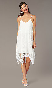 Image of short white lace shift graduation dress. Style: AS-D7327 Front Image