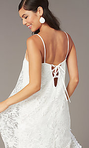 Image of short white lace shift graduation dress. Style: AS-D7327 Detail Image 1