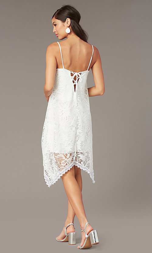 Image of short white lace shift graduation dress. Style: AS-D7327 Back Image