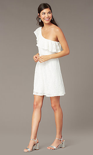 One-Shoulder Short Ivory Lace Graduation Dress