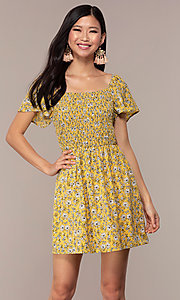 Image of short casual yellow dress with smocked bodice. Style: AS-A162845D97 Front Image