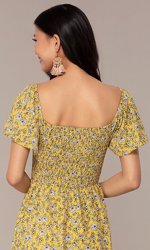 Image of short casual yellow dress with smocked bodice. Style: AS-A162845D97 Detail Image 2