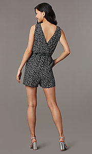 Image of ivory print short black casual party romper. Style: AS-A167545E25 Back Image