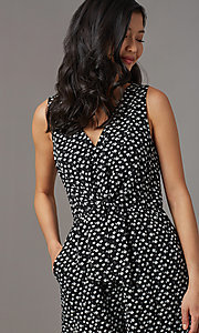 Image of ivory print short black casual party romper. Style: AS-A167545E25 Detail Image 1