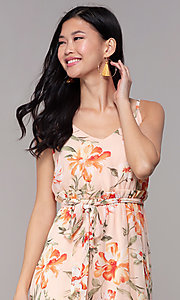 Image of high-low wedding-guest floral-print dress. Style: AS-A146395G15 Detail Image 1