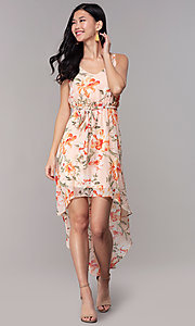 Image of high-low wedding-guest floral-print dress. Style: AS-A146395G15 Detail Image 3