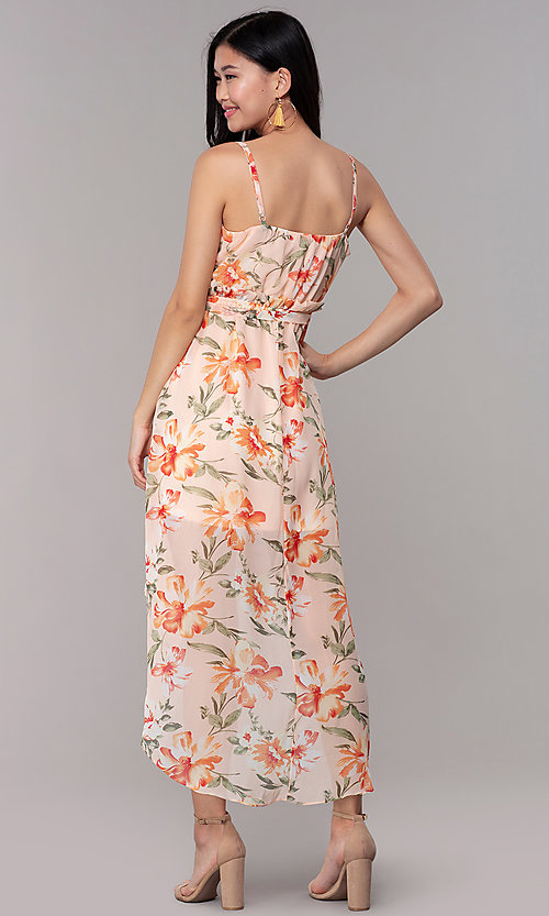 Image of high-low wedding-guest floral-print dress. Style: AS-A146395G15 Back Image