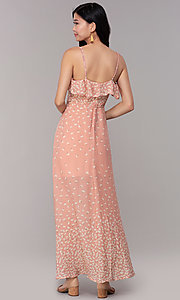 Image of floral-print maxi dress for wedding guests. Style: AS-JH-J512479F35 Back Image
