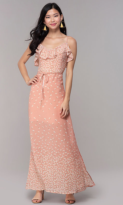 Image of floral-print maxi dress for wedding guests. Style: AS-JH-J512479F35 Front Image