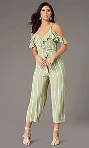 Image of v-neck striped wedding-guest jumpsuit with pockets. Style: AS-JH-L6791d45d68 Front Image
