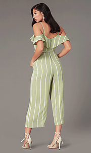 Image of v-neck striped wedding-guest jumpsuit with pockets. Style: AS-JH-L6791d45d68 Back Image