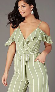 Image of v-neck striped wedding-guest jumpsuit with pockets. Style: AS-JH-L6791d45d68 Detail Image 1