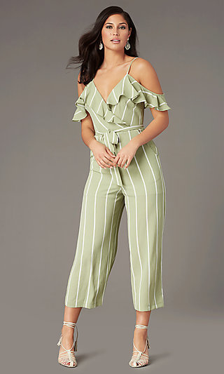 V-Neck Striped Wedding-Guest Jumpsuit with Pockets