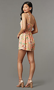 Image of floral-print short casual party romper. Style: AS-JH-L7055D45E34 Back Image